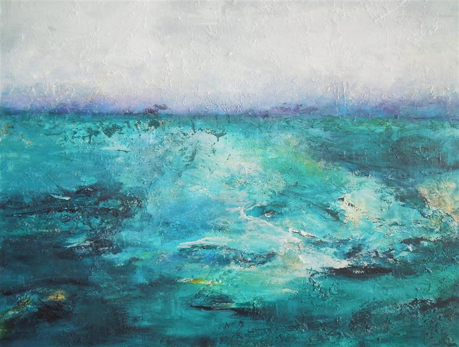 Original art for sale at UGallery.com | Emerald Sea by HILMA KOELMAN | $1,875 |  | 39' h x 47' w | ..\art\acrylic-painting-Emerald-Sea