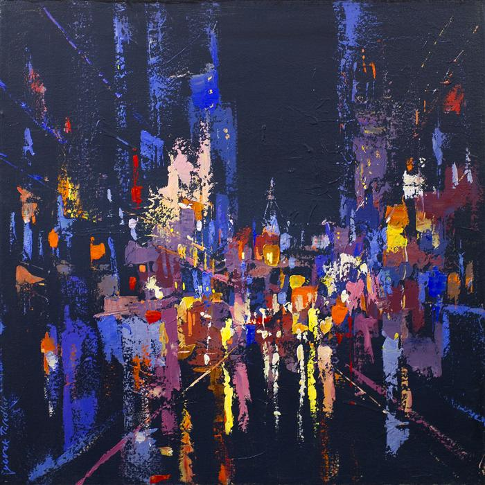 Original art for sale at UGallery.com | Reflection of Street Lights 1 by YUVAK TULADHAR | $1,150 |  | 24' h x 24' w | ..\art\acrylic-painting-Reflection-of-Street-Lights-1