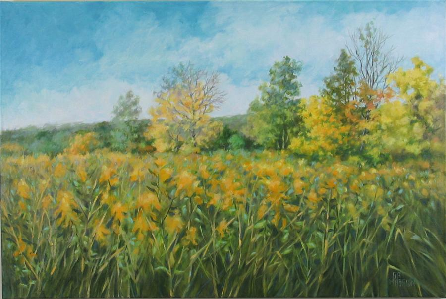 Original art for sale at UGallery.com | Goldenrod Morning by Suzanne Massion | $1,300 | oil painting | 24' h x 36' w | ..\art\oil-painting-Goldenrod-Morning
