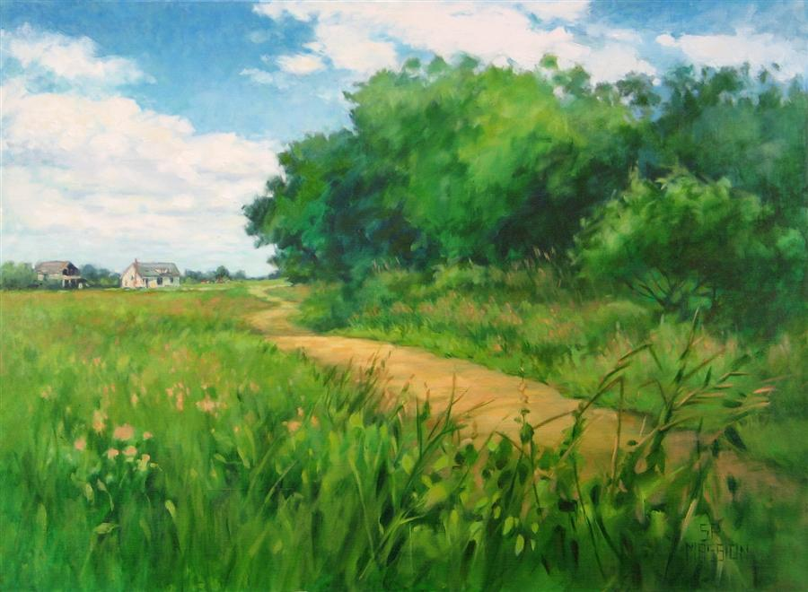 Original art for sale at UGallery.com | Walking the Hedgerow by SUZANNE MASSION | $1,075 |  | 22' h x 30' w | ..\art\oil-painting-Walking-the-Hedgerow