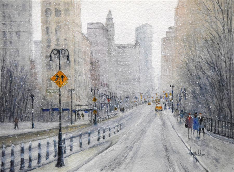 Original art for sale at UGallery.com | Snow in the City - New York by JUDY MUDD | $350 | Watercolor painting | 9' h x 12' w | ..\art\watercolor-painting-Snow-in-the-City-New-York
