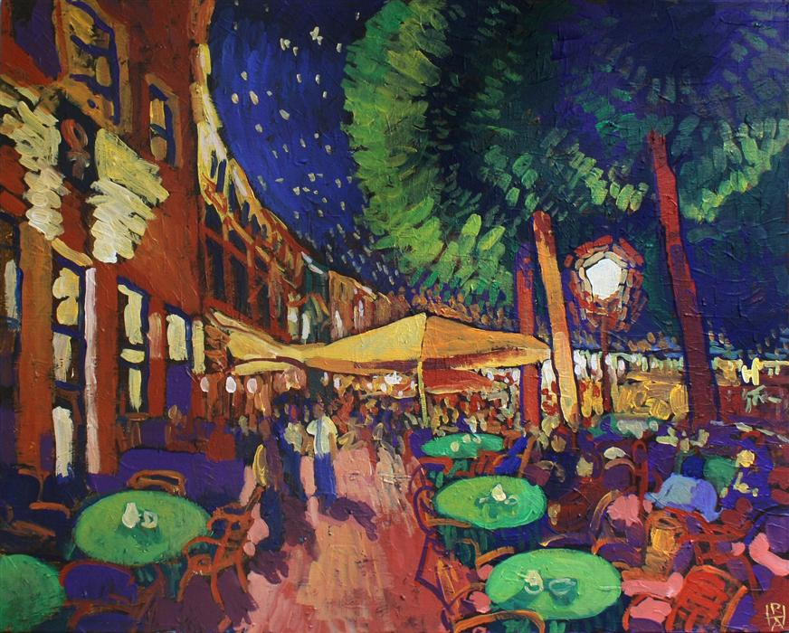 Original art for sale at UGallery.com | Night at the Café by ROBERT HOFHERR | $1,000 | Acrylic painting | 24' h x 30' w | ..\art\acrylic-painting-Night-at-the-Caf