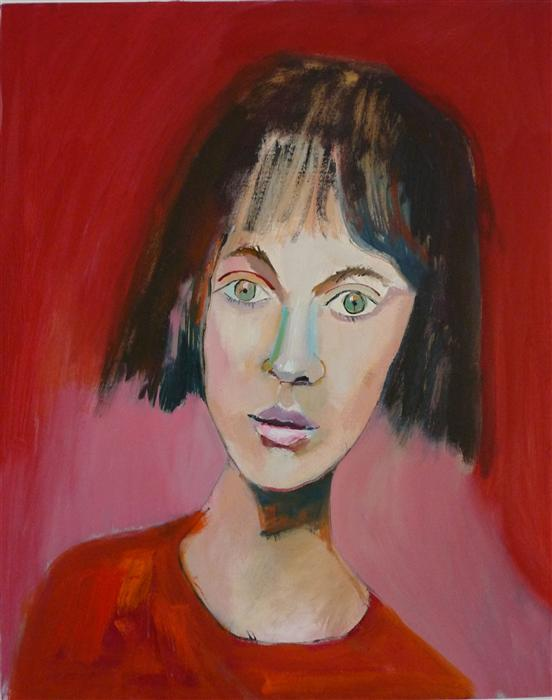 Original art for sale at UGallery.com | Girl in Red by CAROLYN SCHLAM | $3,375 | Oil painting | 30' h x 24' w | ..\art\oil-painting-Girl-in-Red