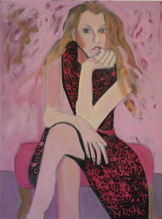Original art for sale at UGallery.com | Girl in Pink by CAROLYN SCHLAM | $3,850 | Oil painting | 40' h x 30' w | ..\art\oil-painting-Girl-in-Pink
