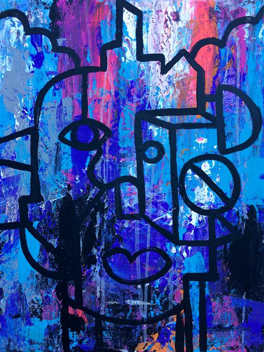 Original art for sale at UGallery.com | Thinking Outside the Abstract Box #1 by ROBERT EROD | $550 |  | 20' h x 16' w | ..\art\acrylic-painting-Thinking-Outside-the-Abstract-Box-1