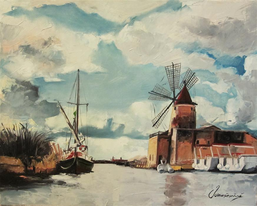 Original art for sale at UGallery.com | Windmill on the Water by NEDIM OMERCAUSEVIC | $1,025 |  | 16' h x 20' w | ..\art\oil-painting-Windmill-on-the-Water