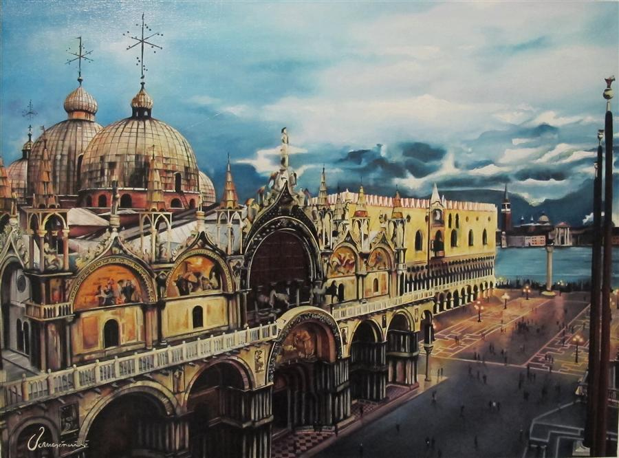 Original art for sale at UGallery.com | Stunning Venice by NEDIM OMERCAUSEVIC | $2,500 | Oil painting | 23' h x 31' w | ..\art\oil-painting-Stunning-Venice