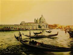 Architecture art,Travel art,Classical art,Realism art,Representational art,oil painting,Summer in Venice