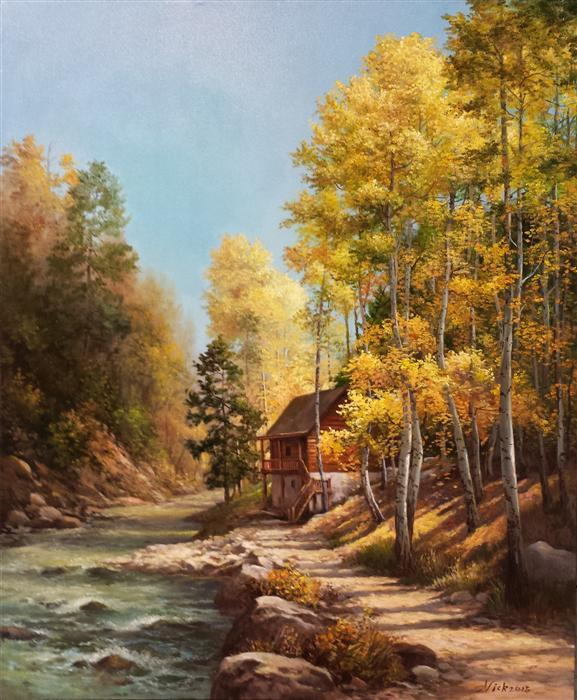 Original art for sale at UGallery.com | Aspens in Fall by NIKOLAY RIZHANKOV | $1,150 |  | 24' h x 20' w | ..\art\oil-painting-Aspens-in-Fall