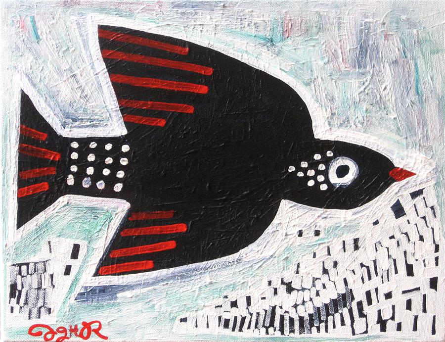 Original art for sale at UGallery.com | Black Bird by JESSICA JH ROLLER | $425 |  | 11' h x 14' w | ..\art\acrylic-painting-Black-Bird