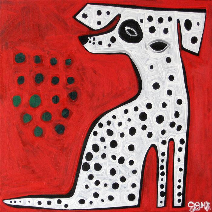 Original art for sale at UGallery.com | Dalmatian on Red by JESSICA JH ROLLER | $650 |  | 20' h x 20' w | ..\art\acrylic-painting-Dalmatian-on-Red