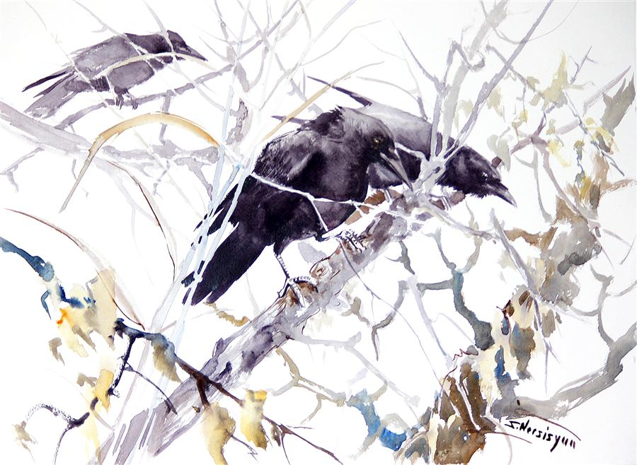 Original art for sale at UGallery.com | Three Ravens in the Fall by SUREN NERSISYAN | $575 | Watercolor painting | 18' h x 24' w | ..\art\watercolor-painting-Three-Ravenss-in-the-Fall