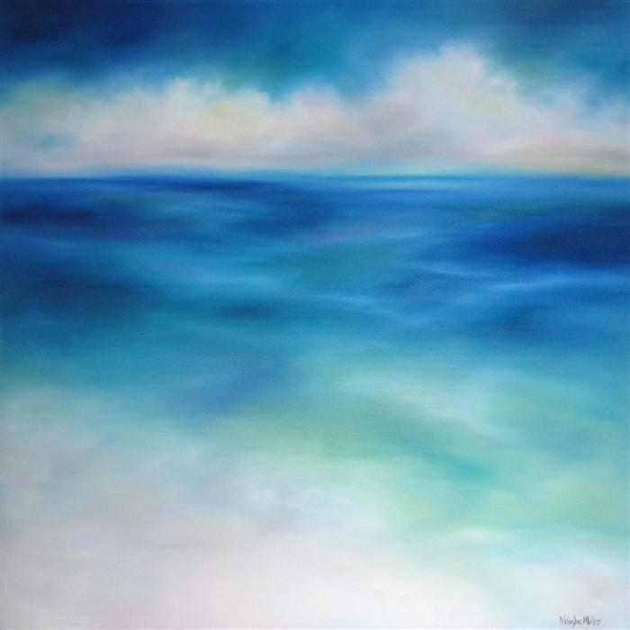 Original art for sale at UGallery.com | Sea Blues by NANCY HUGHES MILLER | $2,000 |  | 36' h x 36' w | ..\art\oil-painting-Sea-Blues