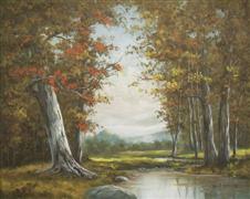 Impressionism art,Landscape art,Representational art,oil painting,One October Afternoon