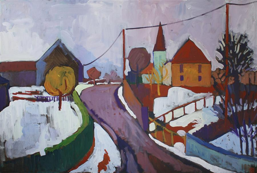 Original art for sale at UGallery.com | Snow on a Village by ROBERT HOFHERR | $1,375 | Acrylic painting | 24' h x 36' w | ..\art\acrylic-painting-Snow-on-a-Village