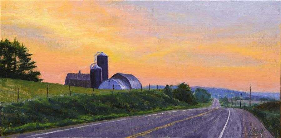 Original art for sale at UGallery.com | Country Sunrise by NATHAN HAGER | $675 | Oil painting | 6' h x 12' w | ..\art\oil-painting-Country-Sunrise