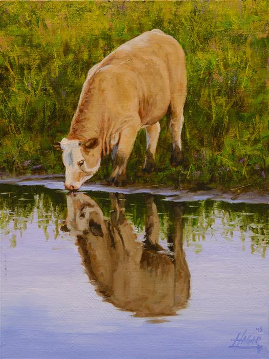 Original art for sale at UGallery.com | Pasture Reflections by NATHAN HAGER | $725 | Oil painting | 12' h x 9' w | ..\art\oil-painting-Pasture-Reflections