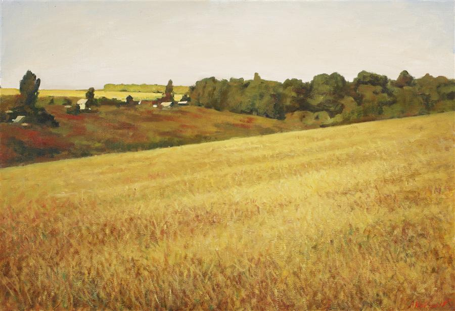 Original art for sale at UGallery.com | Russian Field by ARSENII KOVTUN | $2,200 | Oil painting | 26' h x 38' w | ..\art\oil-painting-Russian-Field