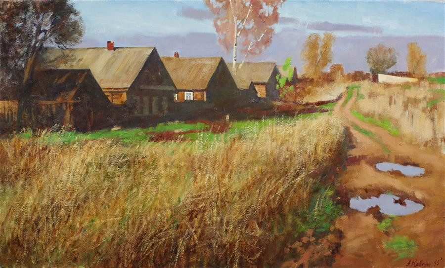 Original art for sale at UGallery.com | In the Village by ARSENII KOVTUN | $2,400 |  | 24' h x 40' w | ..\art\oil-painting-In-the-Village