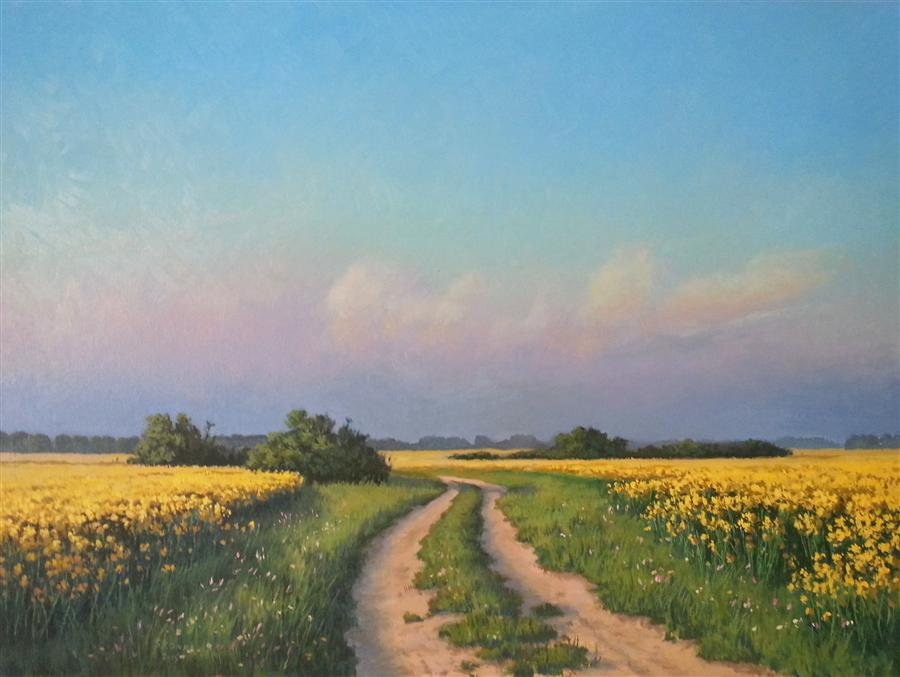 Original art for sale at UGallery.com | Evening on the Field by STEFAN CONKA | $1,500 |  | 24' h x 31' w | ..\art\oil-painting-Evening-on-the-Rape-Field