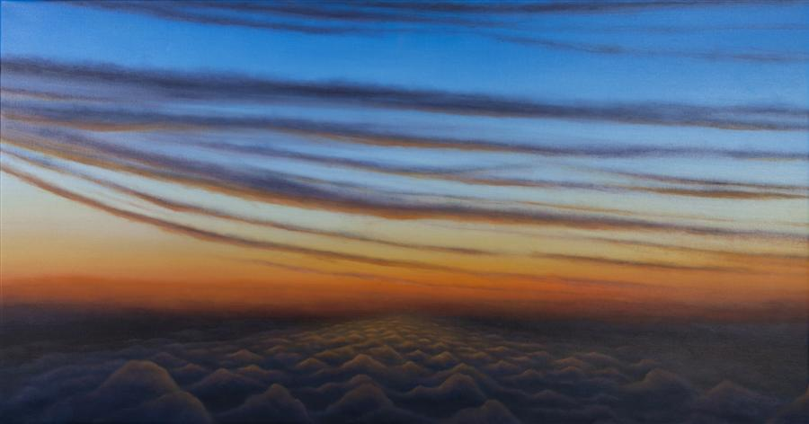 Original art for sale at UGallery.com | Daybreak: Flight 7681 by LAURA GUESE | $3,550 |  | 32' h x 62' w | ..\art\oil-painting-Daybreak-Flight-7681
