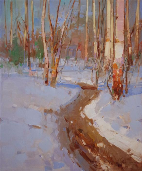 Original art for sale at UGallery.com | Winter's Breath by VAHE YEREMYAN | $750 |  | 24' h x 20' w | ..\art\oil-painting-Winter-s-Breath