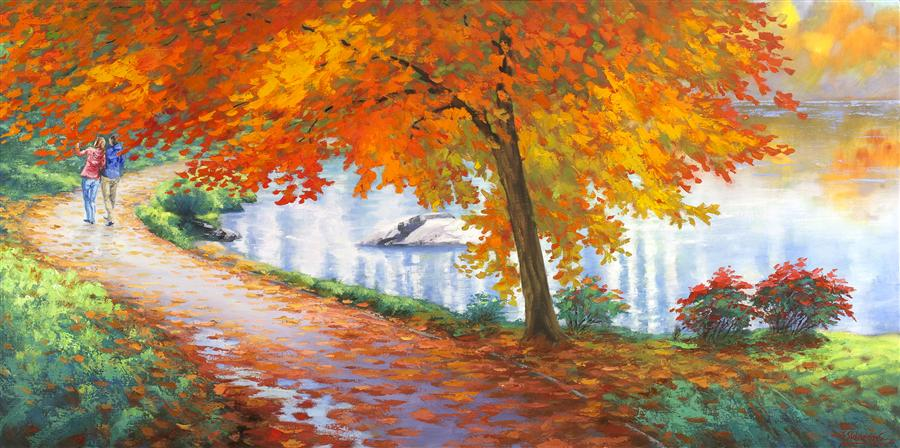 Original art for sale at UGallery.com | Autumn Trail by STANISLAV SIDOROV | $1,925 | Oil painting | 24' h x 48' w | ..\art\oil-painting-Autumn-Trail