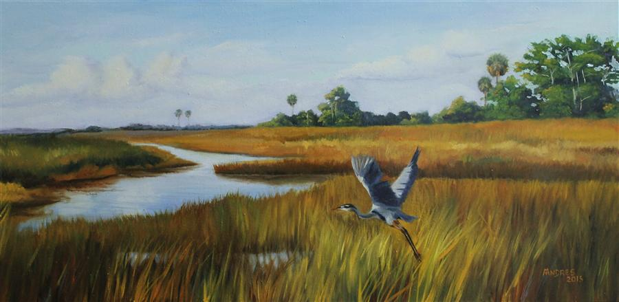 Original art for sale at UGallery.com | Freedom to Fly by Andres Lopez | $575 | oil painting | 12' h x 24' w | ..\art\oil-painting-Freedom-to-Fly
