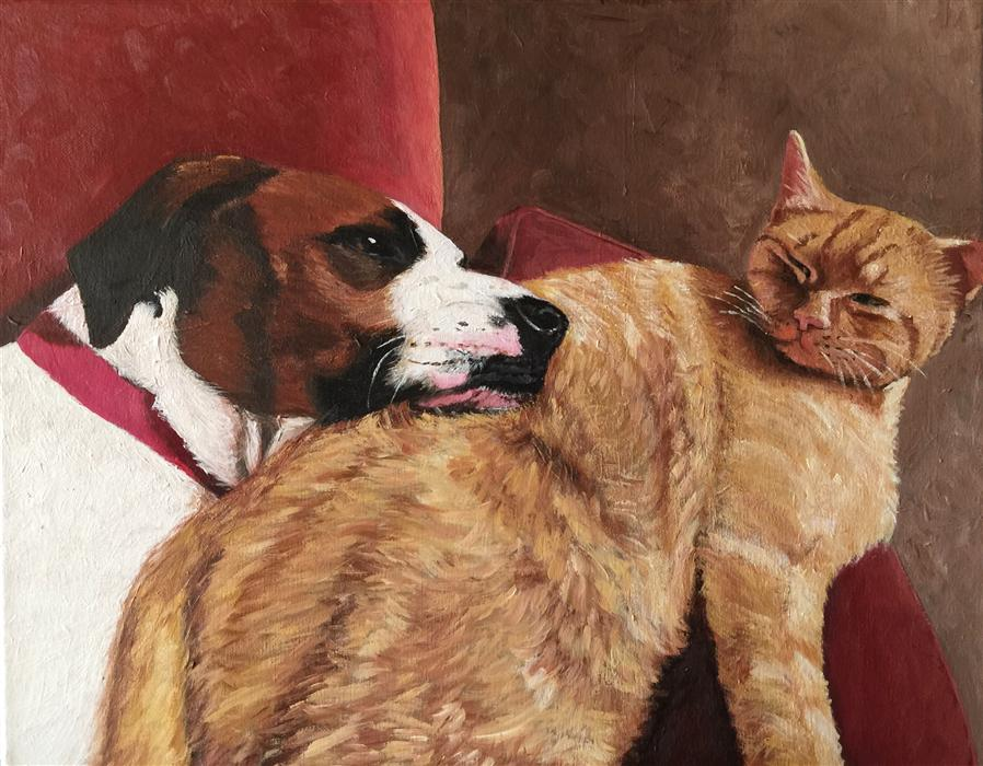 Original art for sale at UGallery.com | The Secret Lives of Pets by PATRICIA FREEMAN | $575 |  | 16' h x 20' w | ..\art\acrylic-painting-The-Secret-Lives-of-Pets