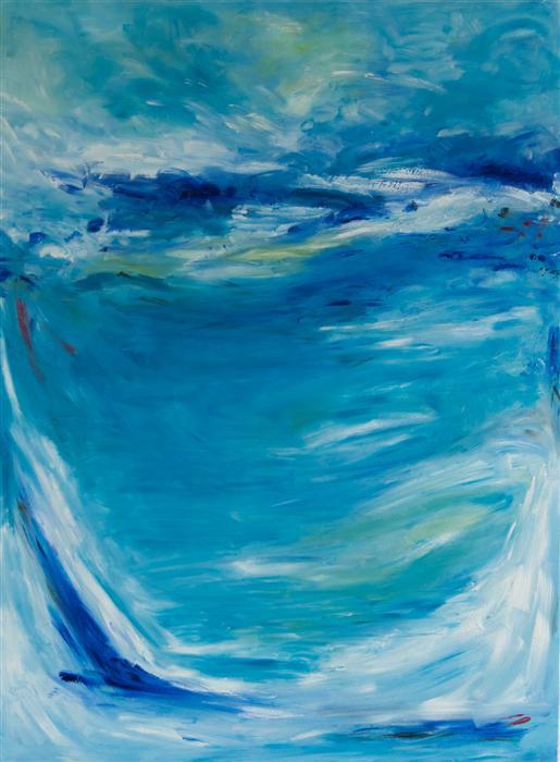 Original art for sale at UGallery.com | Blue by Kajal Zaveri | $3,825 | oil painting | 48' h x 36' w | ..\art\oil-painting-Blue-43322