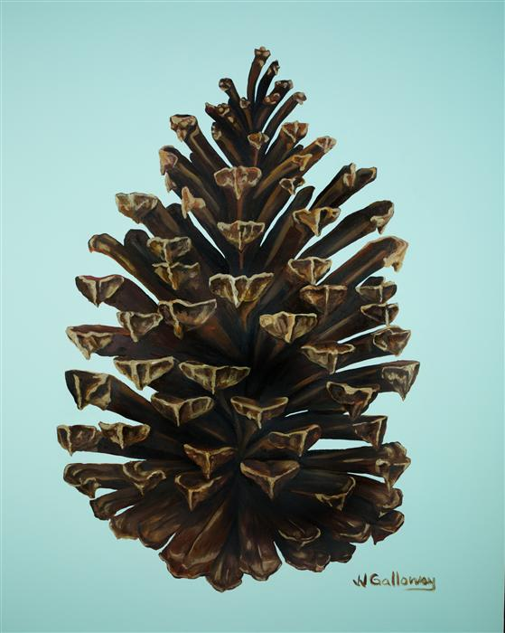 Original art for sale at UGallery.com | Gilded Pine Cone by JJ GALLOWAY | $825 | Oil painting | 30' h x 24' w | ..\art\oil-painting-Gilded-Pine-Cone