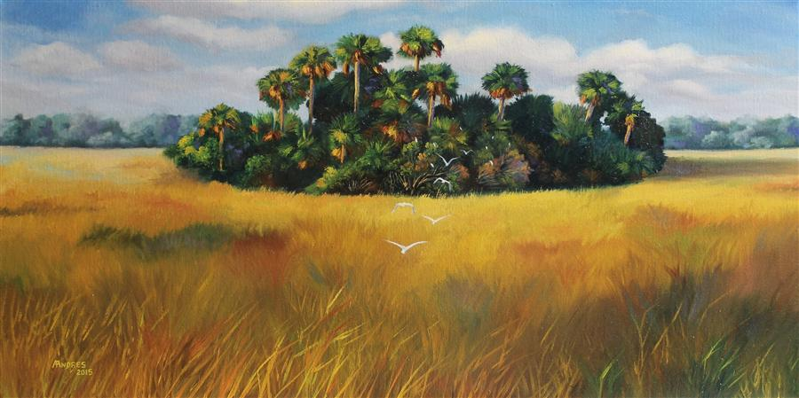 Original art for sale at UGallery.com | Oasis of the Birds by ANDRES LOPEZ | $775 | Oil painting | 15' h x 30' w | ..\art\oil-painting-Oasis-of-the-Birds