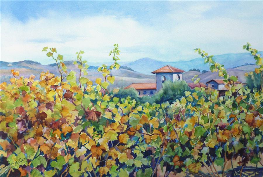 Original art for sale at UGallery.com | Wine Country 2 by CATHERINE MCCARGAR | $875 | Watercolor painting | 15' h x 22' w | ..\art\watercolor-painting-Wine-Country-2