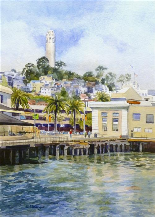 Original art for sale at UGallery.com | Coit Tower, San Francisco by CATHERINE MCCARGAR | $450 | Watercolor painting | 14' h x 10' w | ..\art\watercolor-painting-Coit-Tower-San-Francisco