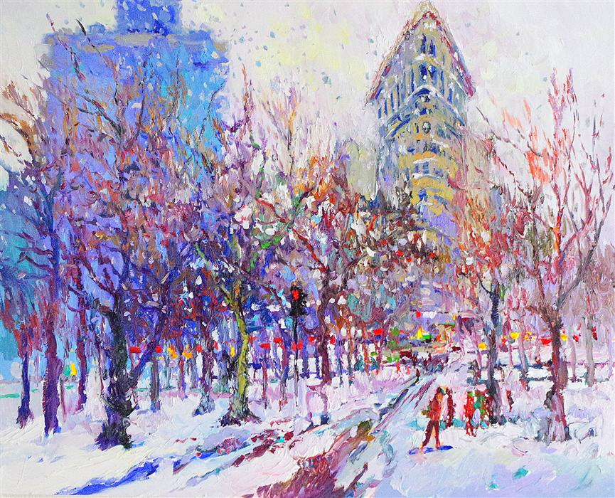 Original art for sale at UGallery.com | Winter (New York, Flatiron Building) by SUREN NERSISYAN | $1,675 |  | 24' h x 30' w | ..\art\oil-painting-Winter-New-York-Flatiron-Building