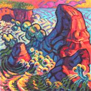 Expressionism art,Nature art,Seascape art,Representational art,acrylic painting,The Coolness of Pacific Dusk