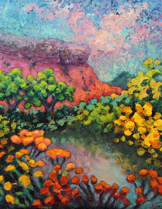 Original art for sale at UGallery.com | Quiet Pond, Near Box Canyon by JAKKI KOUFFMAN | $725 |  | 14' h x 11' w | ..\art\acrylic-painting-Quiet-Pond-Near-Box-Canyon