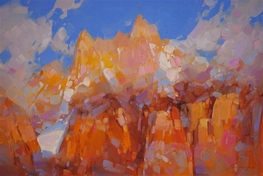 Original art for sale at UGallery.com | Rhone Alps by Vahe Yeremyan | $875 | oil painting | 20' h x 30' w | ..\art\oil-painting-Rhone-Alps