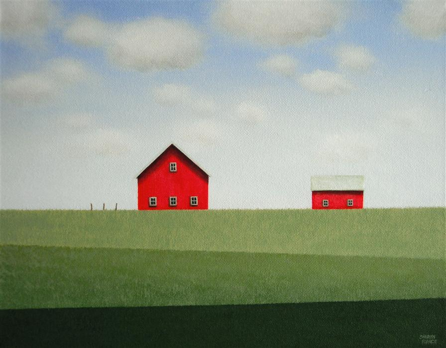 Original art for sale at UGallery.com | Red Barn - Banded Fields by SHARON  FRANCE | $600 |  | 11' h x 14' w | ..\art\acrylic-painting-Red-Barn-Banded-Fields