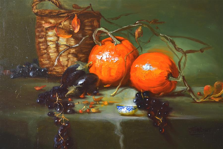 Original art for sale at UGallery.com | Pumpkin Patch Harvest by JULIA BRIGHT | $2,925 | Oil painting | 18' h x 24' w | ..\art\oil-painting-Pumpkin-Patch-Harvest