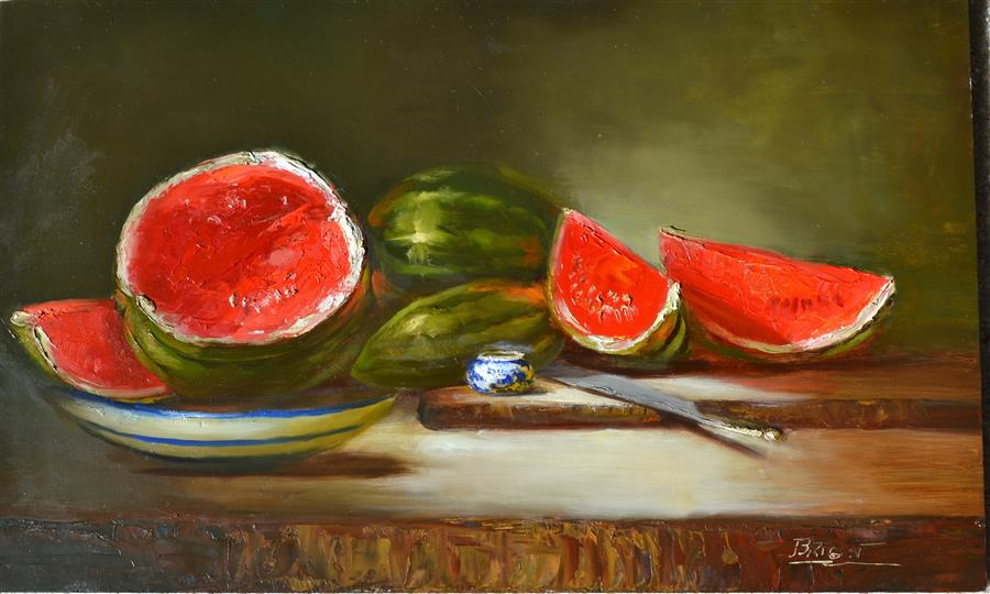 Original art for sale at UGallery.com | Seedless and Proud by JULIA BRIGHT | $3,650 |  | 18' h x 30' w | ..\art\oil-painting-Seedless-and-Proud