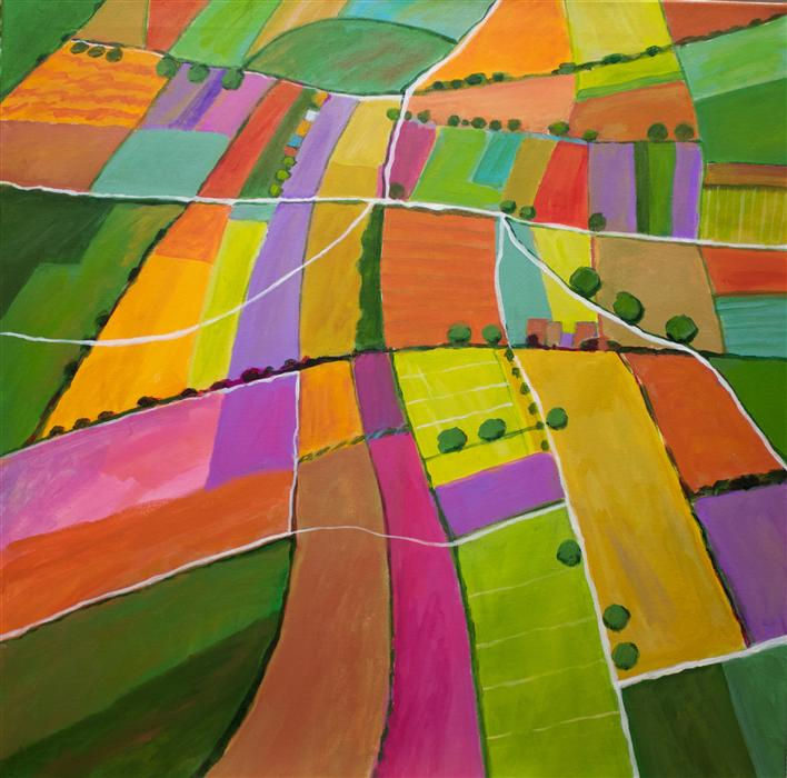 Original art for sale at UGallery.com | Summer Fields by TONI SILBER-DELERIVE | $2,700 |  | 30' h x 30' w | ..\art\acrylic-painting-Summer-Fields-43663