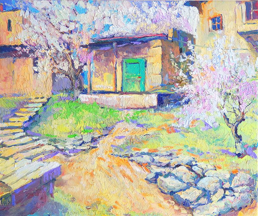 Original art for sale at UGallery.com | House With Green Door, Spring Landscape by SUREN NERSISYAN | $725 | Oil painting | 16' h x 20' w | ..\art\oil-painting-House-With-Green-Door-Spring-Landscape