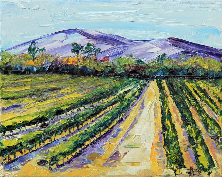 Original art for sale at UGallery.com | Wine Country Vines by LISA ELLEY | $300 | Oil painting | 8' h x 10' w | ..\art\oil-painting-Wine-Country-Vines