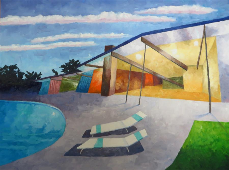 Original art for sale at UGallery.com | Eichler #2 by MITCHELL FREIFELD | $2,275 |  | 30' h x 40' w | ..\art\oil-painting-Eichler-2