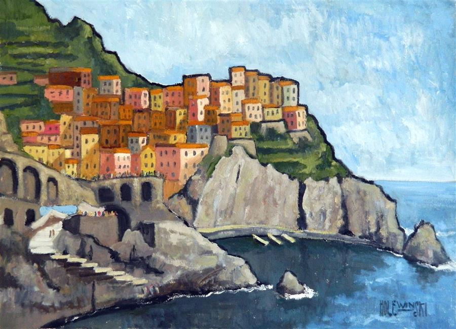 Original art for sale at UGallery.com | Manarola Cinque Terre by ROBERT  HOLEWINSKI | $1,325 | Oil painting | 17' h x 23' w | ..\art\oil-painting-Manarola-Cinque-Terre