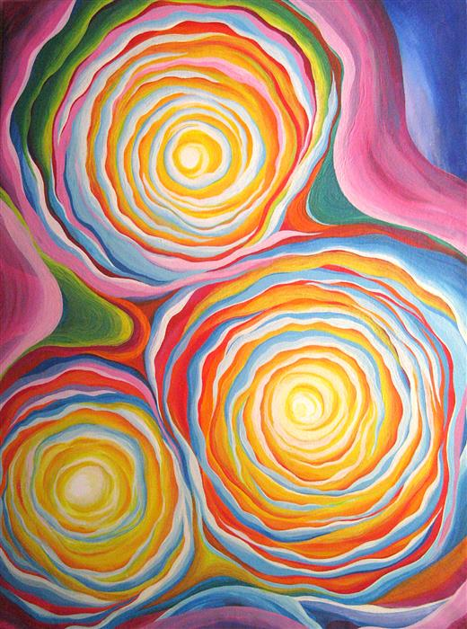 Original art for sale at UGallery.com | Three Suns by NATASHA TAYLES | $1,075 | Acrylic painting | 30' h x 22' w | ..\art\acrylic-painting-Three-Suns