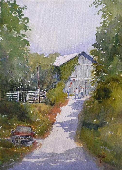 Original art for sale at UGallery.com | Afternoon Chores by JUDY MUDD | $500 | Watercolor painting | 14' h x 10' w | ..\art\watercolor-painting-Afternoon-Chores