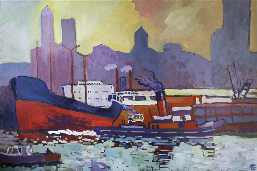 Original art for sale at UGallery.com | Waterfront by ROBERT HOFHERR | $1,100 | Acrylic painting | 24' h x 36' w | ..\art\acrylic-painting-Waterfront