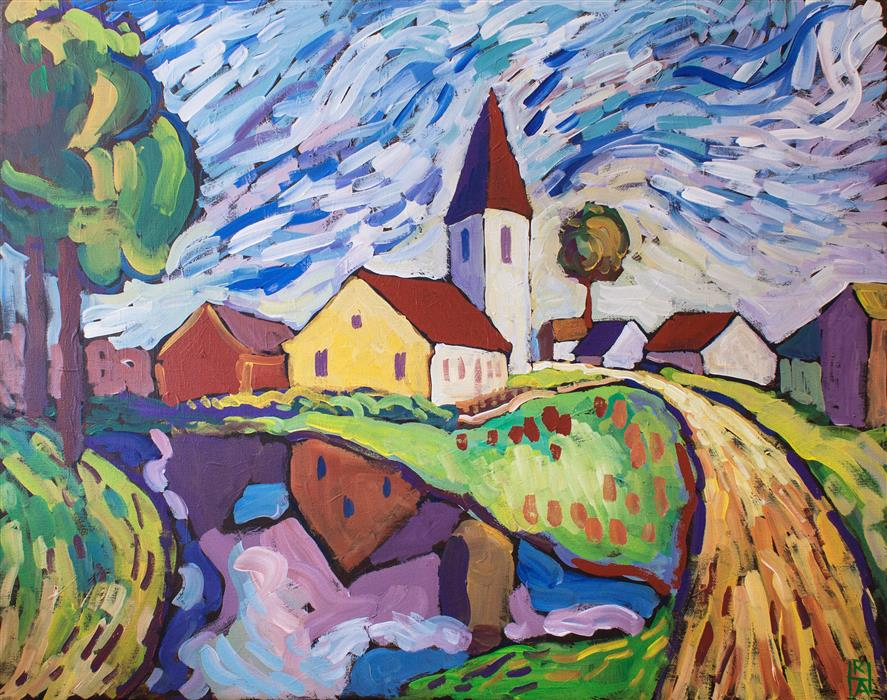 Original art for sale at UGallery.com | Country Church by ROBERT HOFHERR | $1,075 |  | 24' h x 30' w | ..\art\acrylic-painting-Country-Church